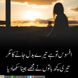 Afsoos To Hai Tere Badal Jaanay Ka Magar - Sad Poetry + Urdu Poetry - top 3 collection